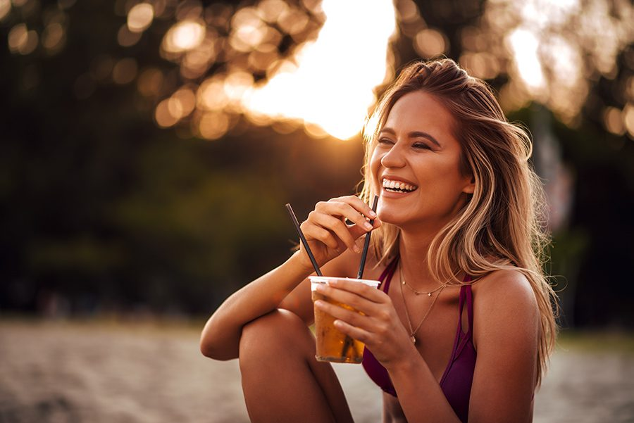 Happy Woman Drinking